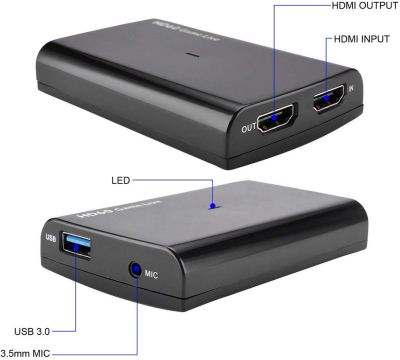HDMI HD Video Capture Card 30P In/Out 1080P 60fps For Game